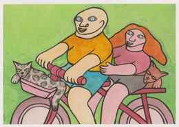 Cpm 1741/481 ERGON - Couple à Bicyclette  - Chats - Vélo - Cyclisme - Bicycle - Cycle - Illustrateurs - Illustrateur - Ergon