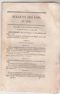 Bulletin Des Lois 1108 De 1844 - Sur Les Brevets D' Invention - Péage Passage Bacs Bateaux Sur L'Ariège à Roc Porquié - Décrets & Lois