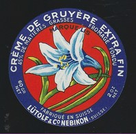 """Etiquette Fromage  Fondu  Creme De Gruyere  Lütolf & Cie  Nebikon Suisse A Voir!    """" Fleur"""" - Cheese"""