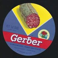 """Etiquette Fromage  Fondu   Au Salami Gerber  Thun  Suisse A Voir!    """" Charcuterie, Fleur"""" - Cheese"""