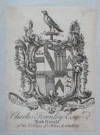Ex-libris Héraldique Illustré XVIIIème - CHARLES TOWNLEY - Ex-libris