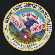 "Etiquette Fromage  Fondu    Gruyere  6 Portions   Burgi & Co Berne Suisse A Voir!    "" Aigle "" - Cheese"