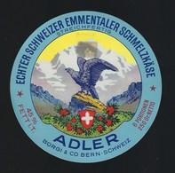 """Etiquette Fromage  Fondu    Emmental   6 Portions  Adler  Burgi & Co Berne Suisse A Voir!    """" Aigle """" - Cheese"""