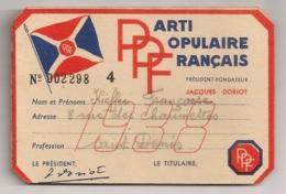 1938 CARTE MEMBRE DU  PPF / PARTI POPULAIRE FRANCAIS / DORIOT    B2159 - Documenti Storici