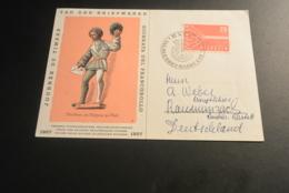 M7458-  FDc Card Adressed Helvetia 1957 - Tag Der Briefmarken - Suiza