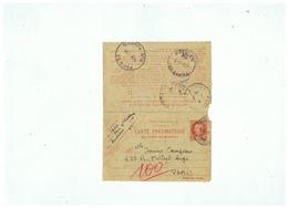 ETAT FRANCAIS CARTE PNEUMATIQUE LA REMISE EST GRATUITE PARIS 1944 - Entiers Postaux