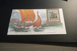 M7495 - Card - With Stamp Fujeira - Viking Longboat - Le Drakkar Viking - Bateaux