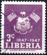 LIBERIA, INDIPENDENZA, 1947, 3 C., FRANCOBOLLO USATO Mi:LR 398, Scott:LR 307, Yt:LR 285 - Liberia