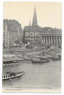 Cpa: 44 NANTES - La Place Et Le Quartier De La Bourse (Remorqueur, Lavoir, Tramway) N° 36 - Nantes