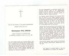 DP Monseigneur Willy ONCLIN Geb.te Hamont 1905 , Gestorven Te Heverlee 1989 - Religión & Esoterismo