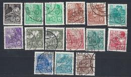 DDR, 1953, Michel-Nr. 405-422, 15 Marken Original + Neudruck, Gestempelt - DDR