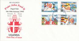 UGANDA FDC  1993 PAPAL VISIT - Uganda (1962-...)