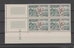 "FRANCE / 1953 / Y&T N° 961 ** : ""JO Helsinki"" (athlétisme) X 4 - Coin Daté 1953 11 16 - Angoli Datati"