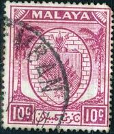 NEGRI SEMBILA, FEDERAZIONE STATI MALESI, STEMMI, 1936, 10 C., FRANCOBOLLO USATO  (0,50) Mi:MY-NS 29, Scott:MY-NS 27 - Malesia (1964-...)
