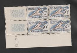 "FRANCE / 1953 / Y&T N° 962 ** : ""JO Helsinki"" (escrime) X 4 - Coin Daté 1953 11 16 - Angoli Datati"