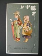 Enfants élegants Avec Parapluie Et Panier De Fleurs - Gaufrée - - Niños