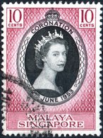 SINGAPORE, MALAYA, INCORONAZIONE, 1953, 10 C., FRANCOBOLLO USATO  Mi: 27, Scott: 27, Sg: 70 - Malesia (1964-...)