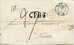 Ardennes. PRUSSE-GIVET. 1847. CPR3 Pour CETTE - Marcofilia (sobres)