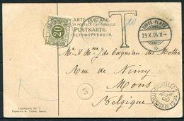 1904 Switzerland Davos Platzkirche Postcard - Mons Belgium Via Herbesthal Bruxelles. Postage Due, Taxe - Briefe U. Dokumente
