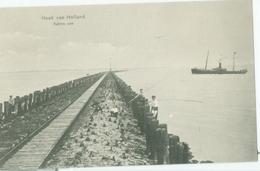 Hoek Van Holland 1910; Kalme Zee Met Stoomschip En Hengelaars - Niet Gelopen. Lees De Beschrijving! - Hoek Van Holland