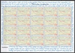 Europa Cept - 2008 - Liechtenstein - 1.Sheetlet Of 20 Set - (Letter) ** MNH - 2008