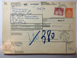 SWITZERLAND 1968 Bulletin D`expedition Baar To Bruxelles Basel Sticker And Steinhausen Marks - Schweiz