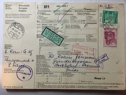 SWITZERLAND 1967 Bulletin D`expedition Lugano To Stockholm With Additional Losen Sticker And Trelleborg Mark - Switzerland