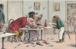 CPA Animal Humanisé Position Humaine Cochon Goinfre Glouton Porc Pig Singe Monkey  Illustrateur (2 Scans) - Cerdos