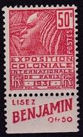 Expo. Coloniale 1931 Type Fachi Avec Publicité Benjamin N** - Werbung