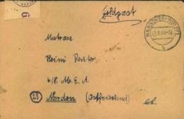 """1944, FP-Brief An Einen Matrosen In Norden Ab HANNOVER-WÜLFEL - """"Feldpostprüfstelle"""" - Alemania"""