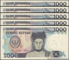 TWN - INDONESIA 124a - 1000 1.000 Rupiah 1987 DEALERS LOT X 5 - Replacement XTC UNC - Indonesia