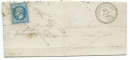 N° 29 BLEU NAPOLEON ANGLES DU TARN TARN POUR CASTRES / 1868 / GC 102 INDICE 13 - Marcophilie (Lettres)