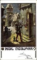 Artiste Cp Braun, W., Glückwunsch Neujahr, Historisches Bild Der Stadt, Wächter, Kleeblatt - Non Classificati