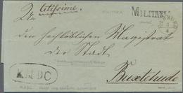 """Hannover - Vorphilatelie: 1848/1850, """"HARBURG"""" K1 Und """"MILITARIA"""" L1 Auf Faltbriefhülle Nach Buxtehu - Duitsland"""