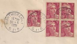 TARIF 15F, BLOC DE QUATRE + UN, 3F GANDON, MONTMORENCY Seine Et Oise. - Marcophilie (Lettres)