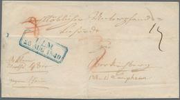 """Württemberg - Vorphilatelie: ULM 25 AUG 1849, Klarer Blauer Achteckiger Ra2 Auf """"Wertbrief Gegen Sch - Duitsland"""