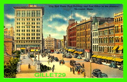 WORCESTER, MA - CITY HALL PLAZA, PARK BUILDING & POST OFFICE - TRAVEL IN 1952 - ANIMATED WITH OLD CARS - - Worcester