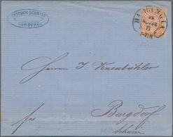 """Norddeutscher Bund - Marken Und Briefe: 1869, ½ Gr. Orange Gezähnt Mit Hufeisenstempel """"HAMBURG I.A. - North German Conf."""