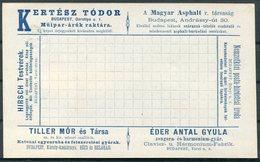 Hungary Private Advertising Stationery Postcard. Publicité Privée De Budapest. - Entiers Postaux