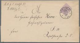 Deutsches Reich - Pfennig: 1885, 5 Pf Lila Als EF Entwertet Mit K1 Auf Ortsbrief Zu Ermäßigter Gebüh - Allemagne