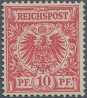 Deutsches Reich - Krone / Adler: 1890, Krone/Adler 10 Pf. Mittel(karmin)rot (UV Dunkelgelb Quarzend) - Allemagne