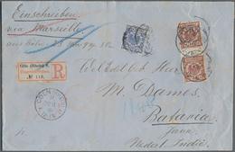 Deutsches Reich - Krone / Adler: 1890, Krone/Adler 50 Pf Paar Mit Zwischensteg Und 20 Pf. Auf Portog - Allemagne