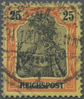 Deutsches Reich - Germania: 1899, 25 Pfg. Germania Mit FETTER INSCHRIFT, Gebrauchte Einzelmarke Mit - Allemagne