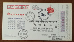 Gadwall,Anas Strepera,China 2007 Hunan Xiangyin Dongtinghu Lake Wetland Birds Illustrated PMK Used On Card - Anatre