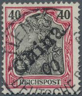 """Deutsche Post In China: 1900, 40 Pfg. Germania Karmin/schwarz Mit Handstempelaufdruck """"China"""", Entwe - Bureau: Chine"""