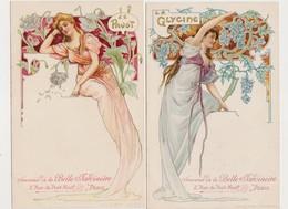 2 Jolies Cpa Fantaisie / Souvenir De La Belle Jardinière / Jeune Femme Style Art Nouveau- Fleurs : La Glycine - Le Pavot - Pubblicitari
