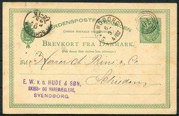 1883 Denmark 10ore Stationery Postcard, Svendborg - Schiedam Holland - 1864-04 (Christian IX)