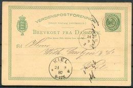 1880 Denmark 10 Ore Stationery Postcard, Kolding - Kiel Germany - 1864-04 (Christian IX)
