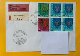 9919 - No 280  Bloc De 4 Sur Lettre Recommandé Exprès  Préverenges 24.12.1981 - Lettres & Documents