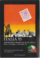 6-Filatelia-Esposizione Mondiale Italia 85-Riproduzione Francobollo L.25  Siracusana - Briefmarken (Abbildungen)